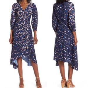 Eliza J Blue Polka Dot Wrap Midi Dress